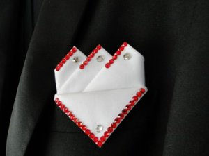 Mens White Ballroom Dancer Pocket Square
