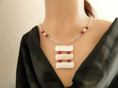 Set 7 Necklace and Earrings Ivory Color Shell With Red and White Faux Pearls