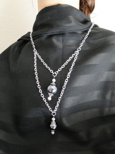 Set 13 Necklace and Earrings Double Drop Grey Faux Pearls