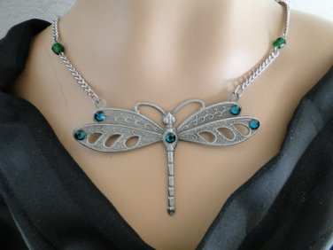 Set 17 Necklace and Earrings Dragonfly with Emerald Rhinestones
