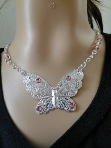 Set 23 Necklace and Earrings Shiny Butterfly Pink