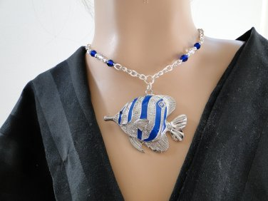 Set 2 Necklace and Earrings Blue Butterfly Fish
