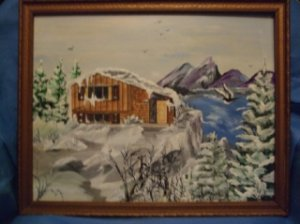 Winter Cabin Original Acrylic/Water Color by RWV