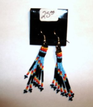 Native American Fire Earrings Beaded Item E333