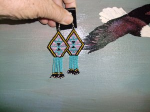 Native American Beaded Earrings    Item E805