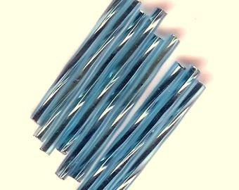 Twisted Bugle Bead 30mm AquaTransparent