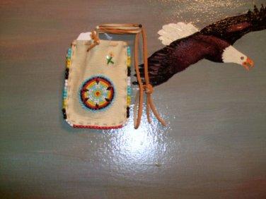 Beaded Pow Wow Medicine Bag Item MB350