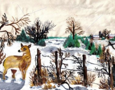 Farm and Deer an Original Water Color by RWV