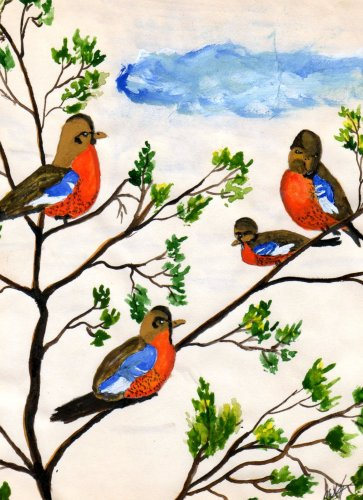 Robins  Watercolor by RWV