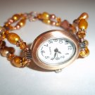 Handmade 2 Strand Beaded Copper And Pearl Watch