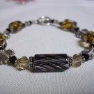 Handmade Black & Tan Cane Glass Bracelet