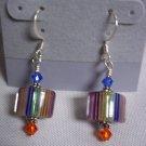 Handmade Rainbow Lampwork & Swarovski Earrings