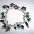 Handmade, Green & Black Furnace Glass Charm Bracelet