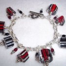Handmade, Red & Black Furnace Glass Charm Bracelet
