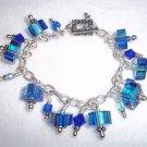 Handmade, Blue Furnace Glass Charm Bracelet
