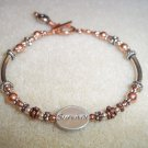 Copper & Silver Cancer Awareness Bracelet