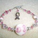 Beaded Breast Cancer Awareness Bracelet