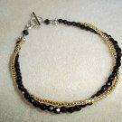 Black & Gold & Silver Two-Strand Beaded Bracelet