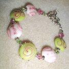 Pink & Green Beaded Lampwork Bracelet
