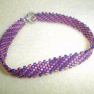Handmade Woven Pink & Purple Beaded Bracelet