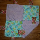 Letters & Numbers Rag Security Quilt With Ribbons