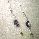 Handmade Green & Silver Leaf Earrings
