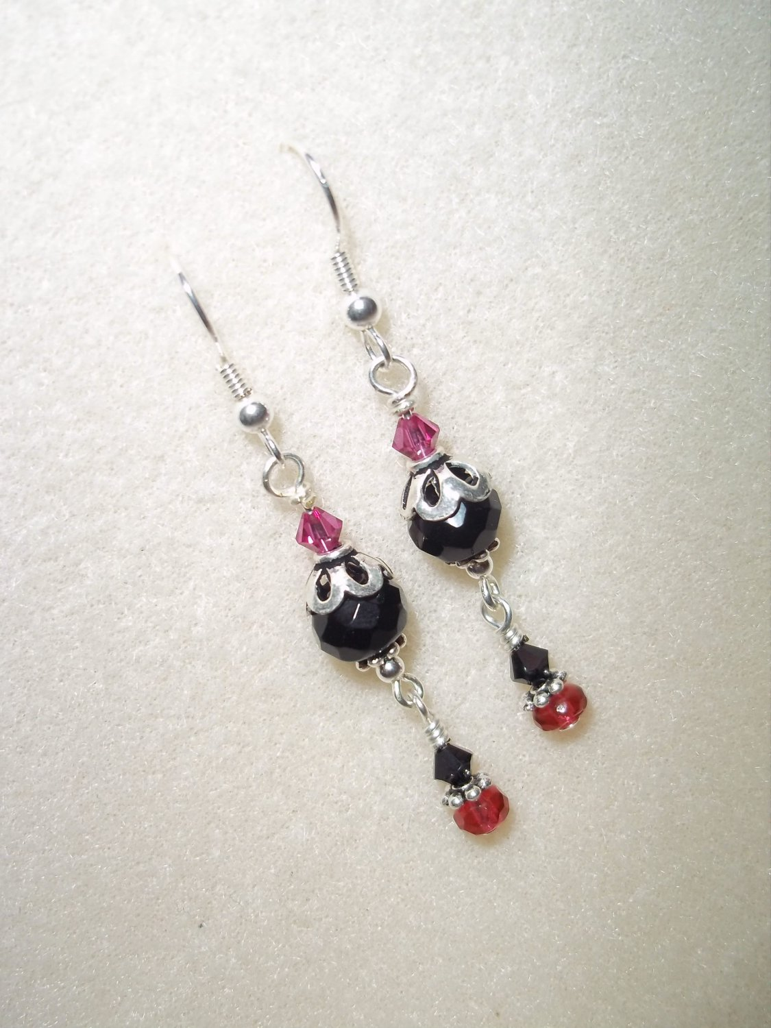 Handmade Black & Pink Earrings