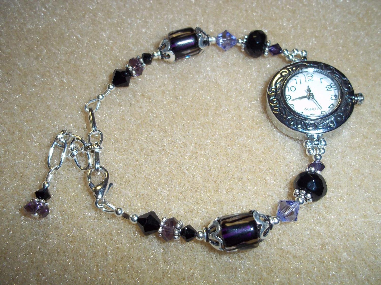 Handmade Purple & Black Beaded Watch
