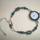 Handmade Beaded Pink & Green Watch