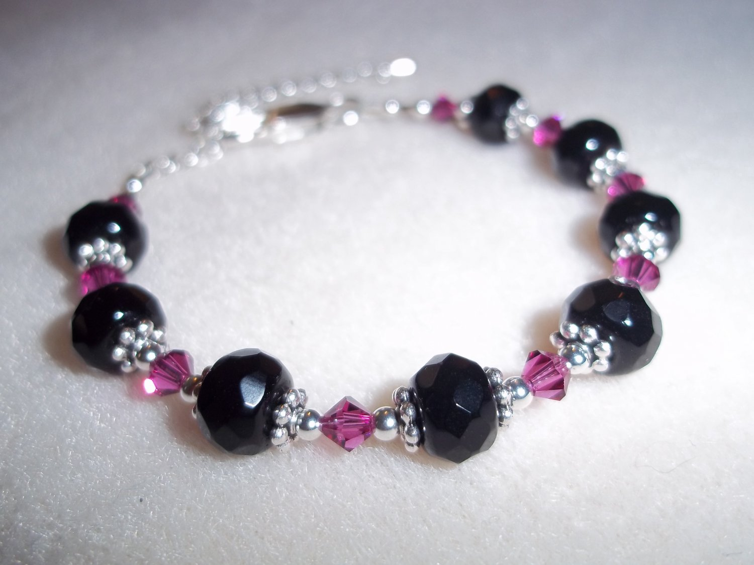 Handmade Pink & Black Beaded Bracelet
