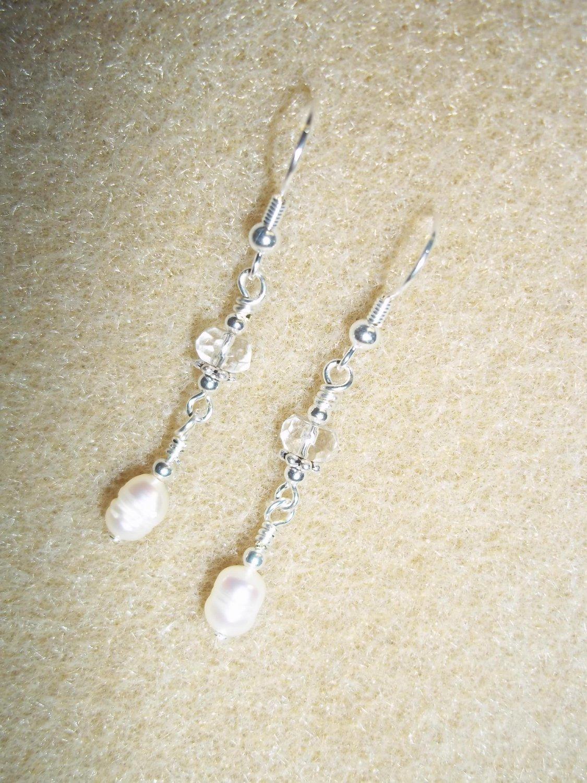 Handmade Pearl & Crystal Bridal Earrings