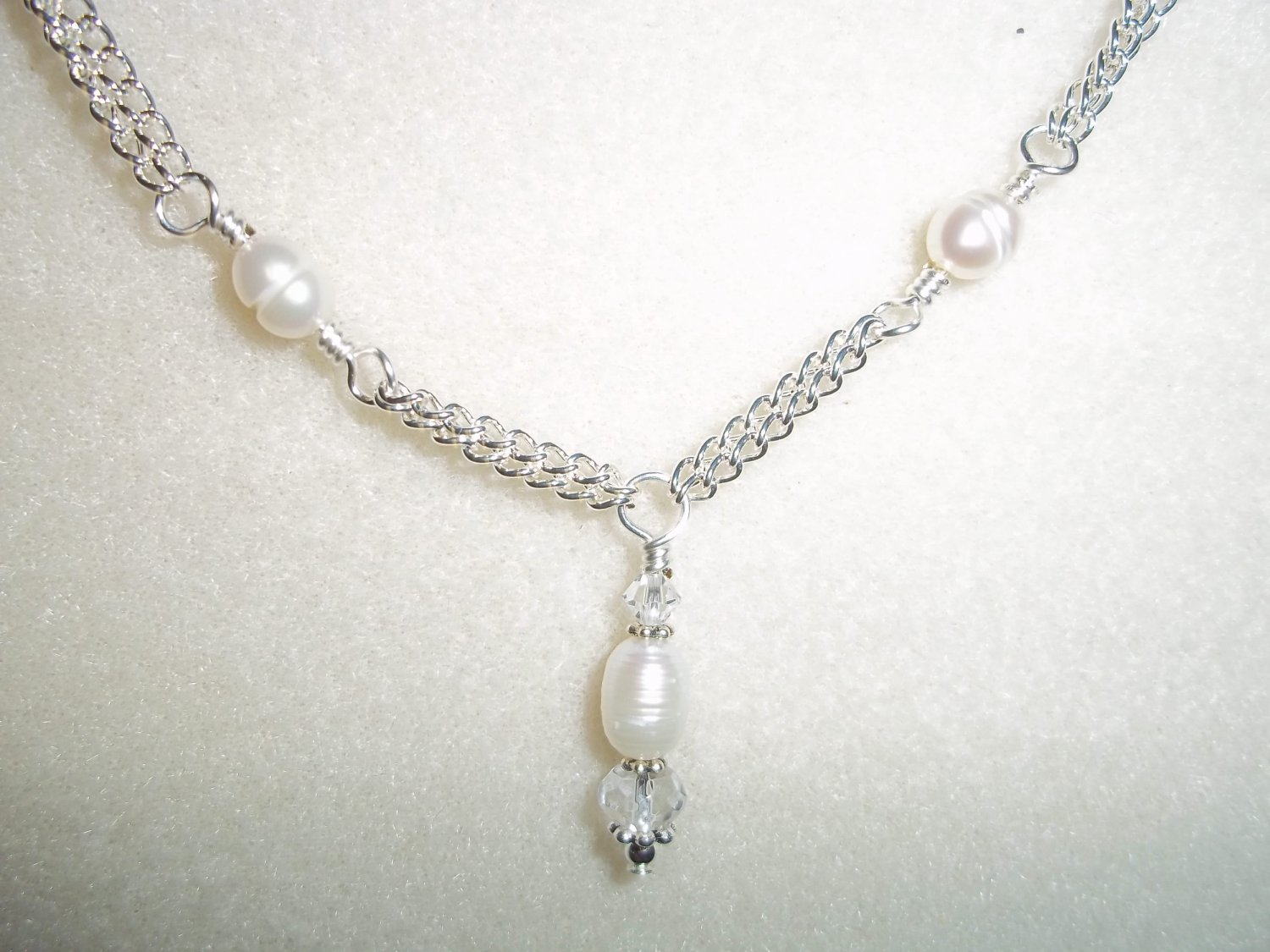 Handmade Silver & Pearl Bridal Necklace