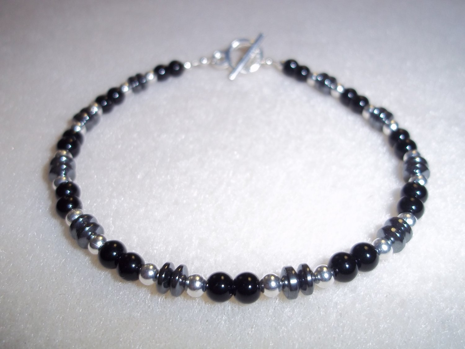 Men's Black, Silver and Hematite Bracelet