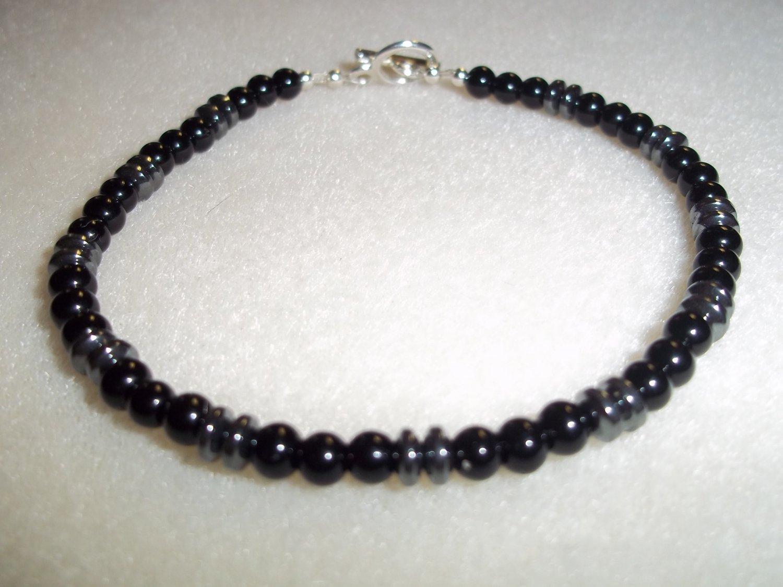 Men's Handmade Black and Hematite Bracelet