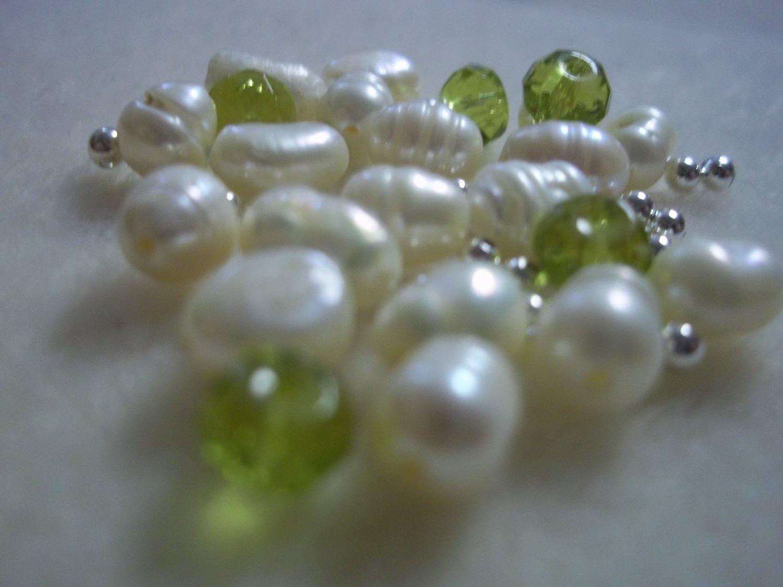 Beaded Bracelet Kit - Freshwater Pearl & Green