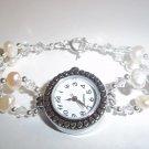 Handmade Beaded Pearl & Crystal Silver Watch
