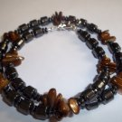 Handmade Beaded Men's Hematite & Shell Necklace