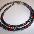 Handmade Men's Red Agate & Hematite Necklace