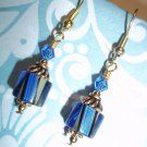 Handmade Beaded Blue Lampwork Earrings