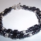 Handmade Beaded Silver & Hematite Men's Necklace