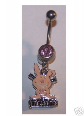 Pink Happy Bunny Belly Button jewelry