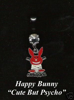 Red Happy Bunny Belly Button Ring