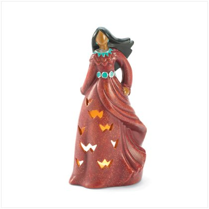 Ceramic Candle Holder - Native American Woman