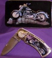 Blue Motorcycle Collector Knife in Display Tin