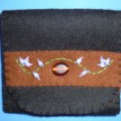 Black, Brown, and Purple Organic Wool Felt Tri-Fold Wallet