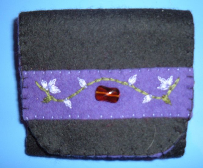 Black, Purple, and Red Organic Wool Felt Tri-Fold Wallet