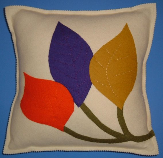 Contempo Wool Felt Three Leaf Pillow