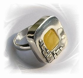 Artisian Handcrafted Designer Sterling Silver Amber Ring