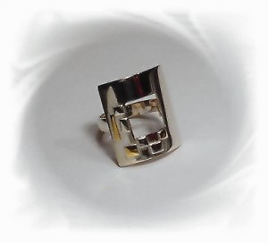 Artisian Handcrafted Designer Sterling Silver Ring With 14K Gold Accent Deco