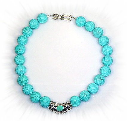 Artisian Handcrafted Designer Sterling Siver and Carved Blue Turquoise Bead Collar Necklace